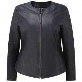 VERPASS NAVY LEATHER JACKET - Plus Size Collection