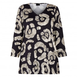 QNEEL ABSTRACT PRINT JERSEY TOP - Plus Size Collection