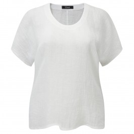 Q'NEEL WHITE CRUSHED LINEN TOP - Plus Size Collection