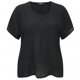 Q'NEEL BLACK CRUSHED LINEN TOP - Plus Size Collection