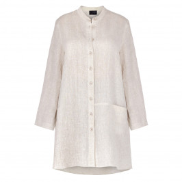 QNEEL CHEESECLOTH LINEN SHIRT BEIGE - Plus Size Collection