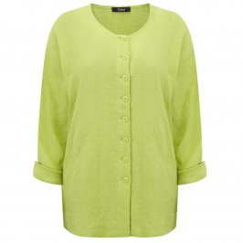 Q'NEEL LIME GREEN CRUSHED LINEN LONG JACKET - Plus Size Collection