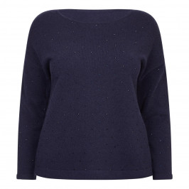 PERSONA BY MARINA RINALDI NAVY WOOL BLEND SWEATER - Plus Size Collection
