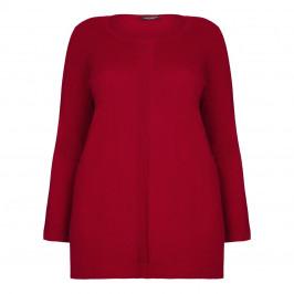 Marina Rinaldi rib front detail red silk SWEATER - Plus Size Collection