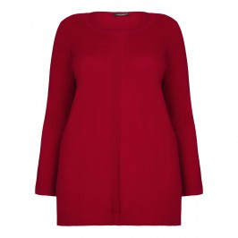 Marina Rinaldi rib front detail red silk SWEATER - Plus Size Collection