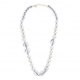 ADELE MARIE LONG PEARL AND CLEAR BEAD NECKLACE - Plus Size Collection