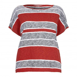 Marina Rinaldi red stripe linen drop shoulder SWEATER - Plus Size Collection