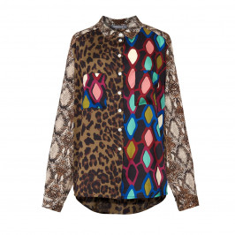 ALEMBIKA ANIMAL AND ABSTRACT PRINT SATIN SHIRT - Plus Size Collection
