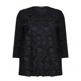 Marina Rinaldi black embroidered organza SWEATER - Plus Size Collection
