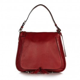 Abro trapeze shape red leather handbag with tassel detail