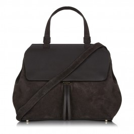 ABRO SLATE SUEDE HANDBAG WITH LEATHER FLAP - Plus Size Collection
