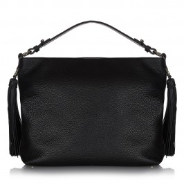 ABRO BLACK LEATHER HOBO BAG WITH EXAGGERATED TASSELS - Plus Size Collection