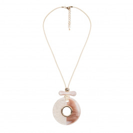 ADELE MARIE flat stone pendant long NECKLACE - Plus Size Collection