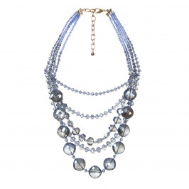 ADELE MARIE blue glass bead multistrand NECKLACE - Plus Size Collection