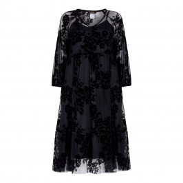 ALEMBIKA LACE SHEER FLOCK PRINT WITH SLIP BLACK