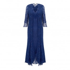 Ann Balon blue embroidered sequined dress and coat outfit - Plus Size Collection