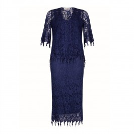 ANN BALON MARINE BLUE LACE ENSEMBLE - Plus Size Collection
