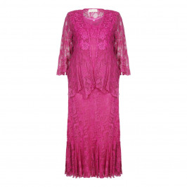 Ann Balon Fuchsia Lace Three Piece Outfit - Plus Size Collection