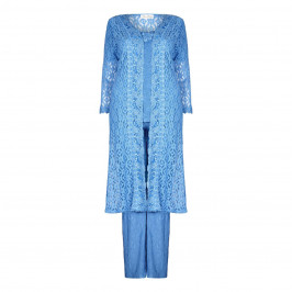 ANN BALON blue lace Jacket, top & trousers outfit - Plus Size Collection