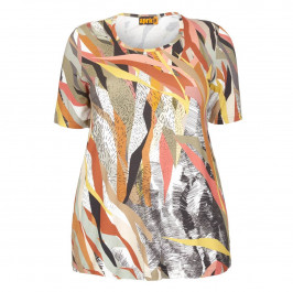 APRICO TOBACCO ABSTRACT PRINT JERSEY TOP - Plus Size Collection