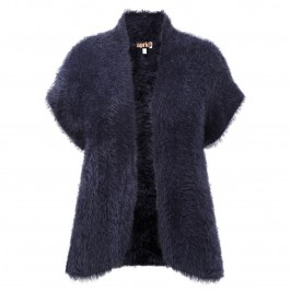 Aprico navy furry knit GILET - Plus Size Collection