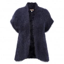 Aprico navy furry knit GILET - Plus Size Collection