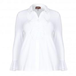 APRICO jersey ruffle white SHIRT - Plus Size Collection