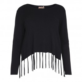 APRICO tasselled black SWEATER - Plus Size Collection