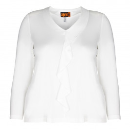 APRICO RUFFLE FRONT V-NECK TOP  - Plus Size Collection