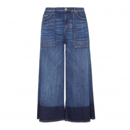 Ashley Graham x Marina Rinaldi contrast hem denim CULOTTES - Plus Size Collection