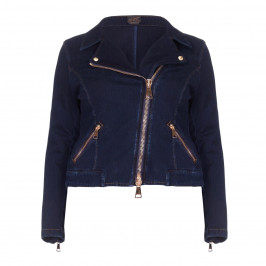 Ashley Graham x Marina Rinaldi Gold Zip Denim Biker Jacket - Plus Size Collection