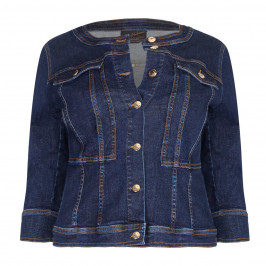 Ashley Graham x Marina Rinaldi gold button denim jacket - Plus Size Collection