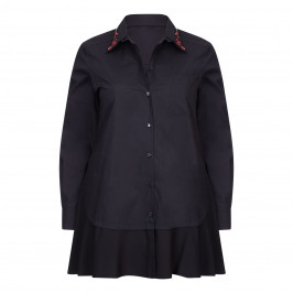 MARINA RINALDI BLACK SHIRT DETACHABLE JEWEL COLLAR - Plus Size Collection