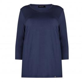 BEIGE label steel blue jersey TOP - Plus Size Collection