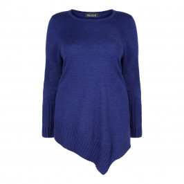 BEIGE LABEL BLUE KNITTED TUNIC WITH ASYMMETRIC HEM - Plus Size Collection