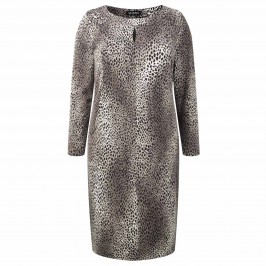 BEIGE LEOPARD PRINT DRESS WITH KEYHOLE DETAIL - Plus Size Collection