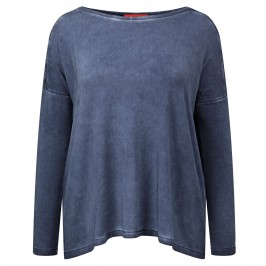 Beige denim blue lace back jersey tunic - Plus Size Collection