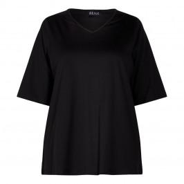 BEIGE COTTON T-SHIRT V-NECK BLACK - Plus Size Collection