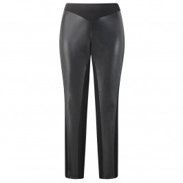 Beige black leather-look panelled trousers - Plus Size Collection