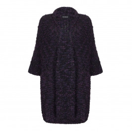 BEIGE LABEL CHUNKY KNIT CARDIGAN PURPLE - Plus Size Collection