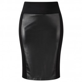 YOEK LEATHER FRONT SKIRT - Plus Size Collection