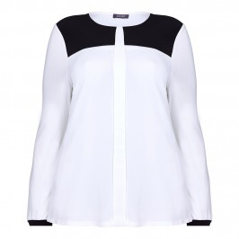 BASLER BLACK & WHITE COLOUR BLOCK BLOUSE - Plus Size Collection