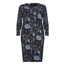 BASLER SKY BLUE AND NAVY JACQUARD DRESS - Plus Size Collection