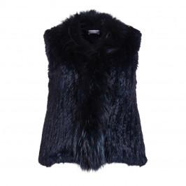 BASLER navy lapin fur raccoon trim GILET - Plus Size Collection