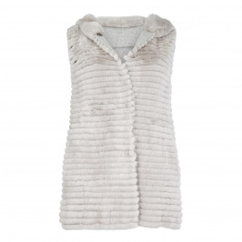 BASLER SILVER FUR REVERSIBLE KNIT GILET WITH HOOD - Plus Size Collection