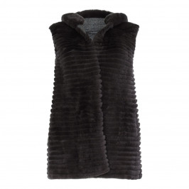 BASLER CHARCOAL FUR REVERSIBLE KNIT GILET WITH HOOD - Plus Size Collection