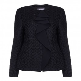 BASLER BLACK LUREX TEXTURED JACKET WITH RUFFLE DETAIL - Plus Size Collection