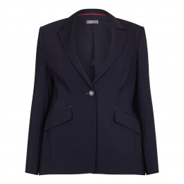 BASLER navy fitted emblem button JACKET - Plus Size Collection