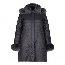BASLER REVERSIBLE FUR PUFFA COAT WITH RACCOON TRIM - Plus Size Collection