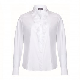 Basler White cotton stretch ruffle SHIRT - Plus Size Collection